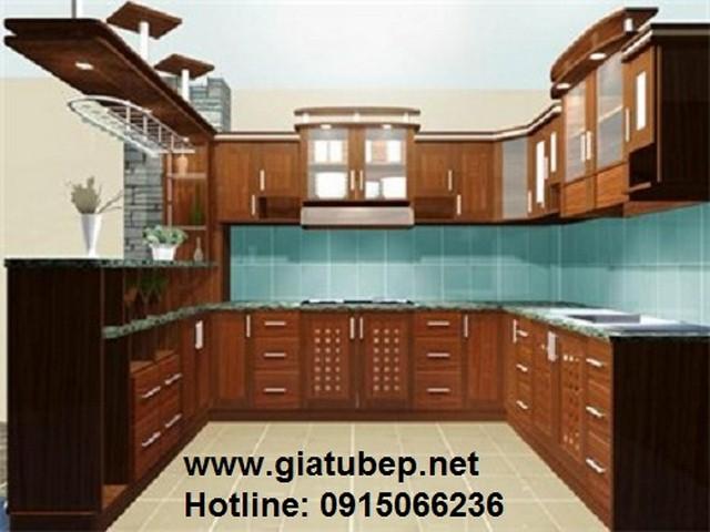tủ bếp kết hợp sàn gỗ